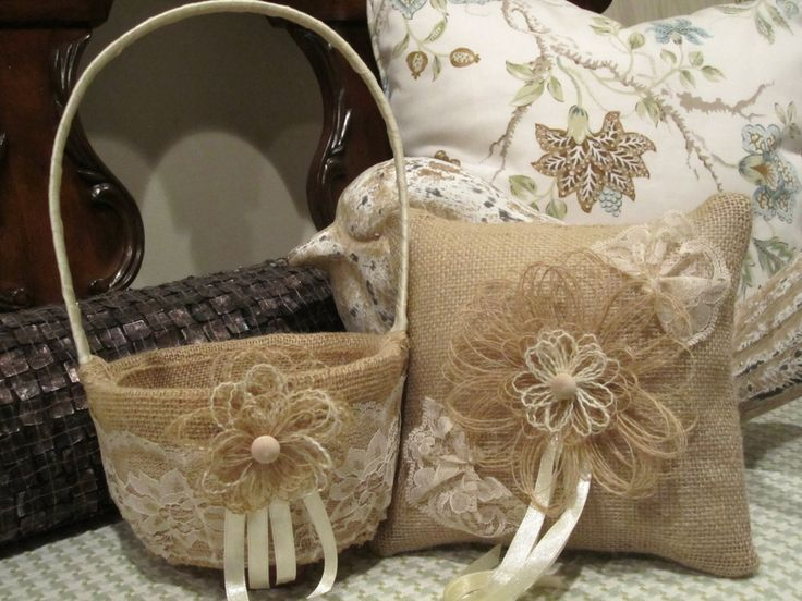 Rustic Burlap Flower Girl Baskets : Burlap ring bearer pillow flower girl basket with ivory