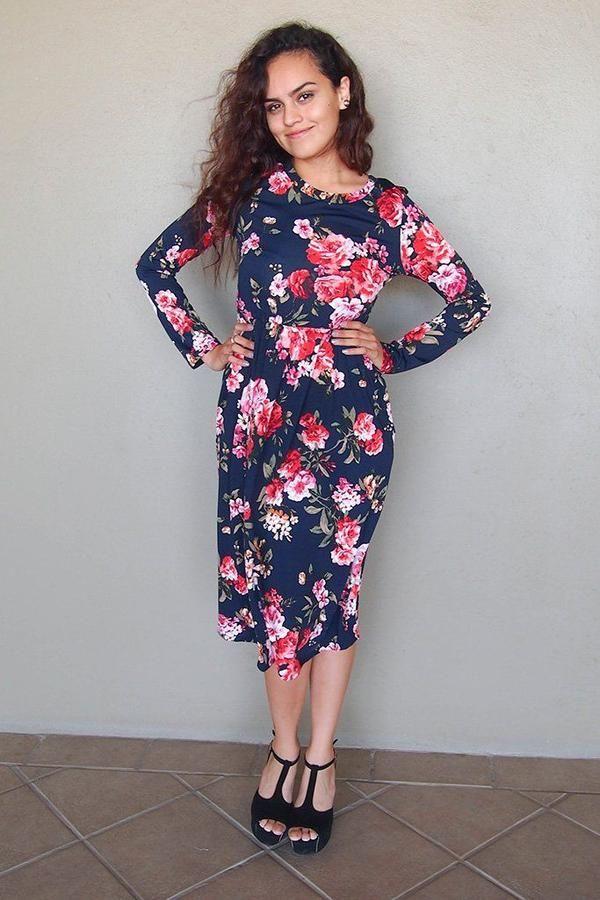 4f61476dee Vision Of Beauty Navy Blue Floral Print Midi Dress – Ledyz Fashions