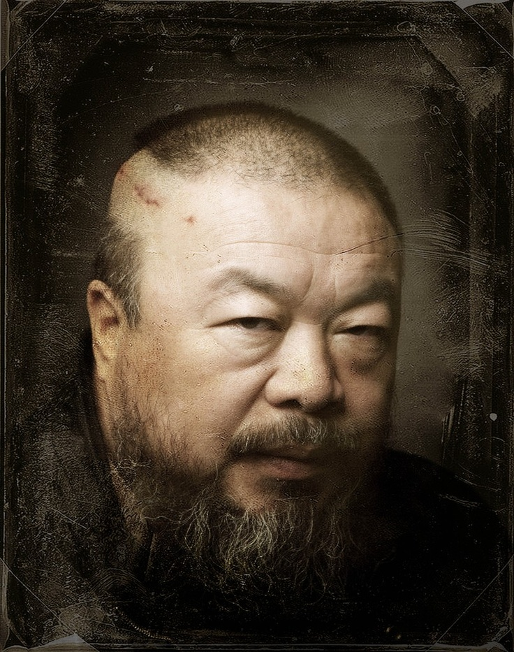 """Self portrait"" - Ai Weiwei {contemporary artist male head asian man face painting}"
