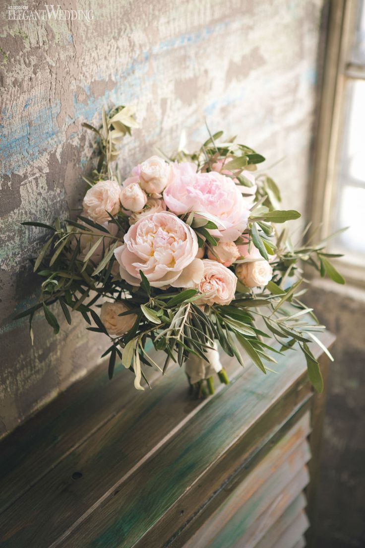 Pink Peony Bouquet with Greenery www.elegantwedding.ca