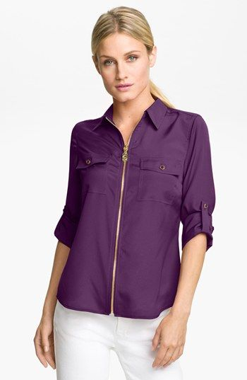 MICHAEL Michael Kors 'Dogtag Zip' Camp Shirt available at #Nordstrom. Great purple color!
