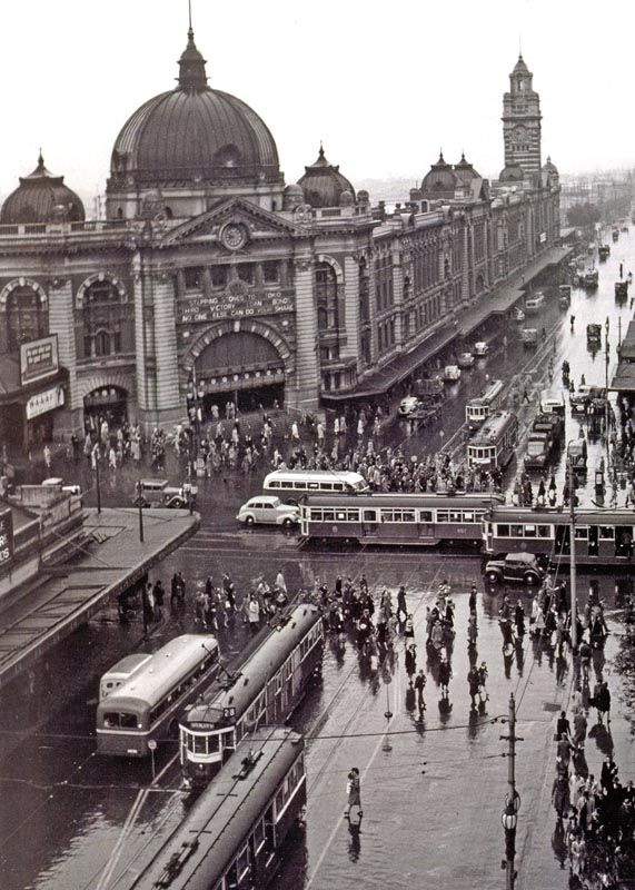 At a crossroads... Melbourne CBD mid 1900s