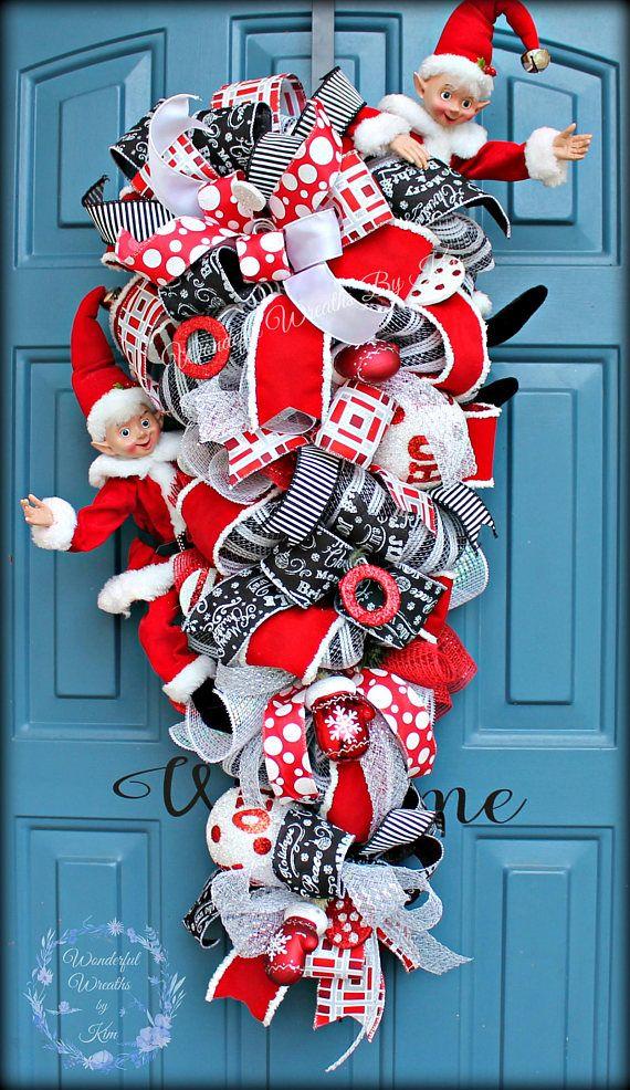Elf Christmas Wreath Xmas Wreath Front Door Christmas