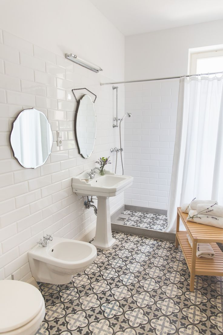 Lovely vintage style bathroom. Part of the bright family room