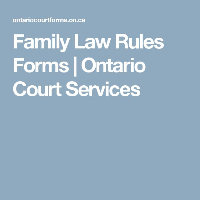 Family Law Rules Forms | Ontario Court Services