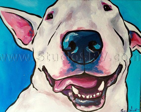 White English Bull Terrier print c by StudioSRV on Etsy