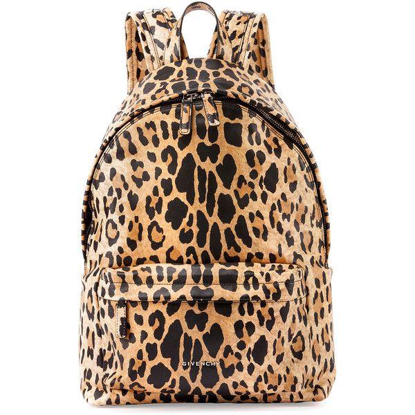 Givenchy Antigona Nylon Backpack ($1,395) ❤ liked on Polyvore featuring bags, backpacks, leopard, hardware bag, beige bag, logo bags, strap backpack and leopard bag