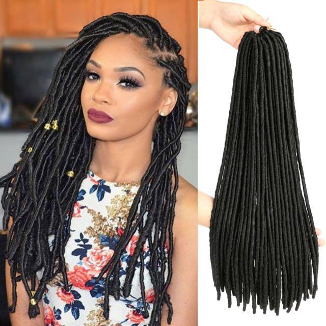 "18"" Dreadlock Faux Locs Braid Hair Crochet Braids Black Synthetic Hair Extension | eBay"