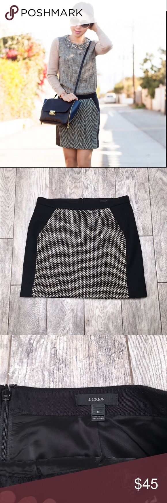 J crew black chevron postage stamp mini skirt J crew postage stamp skirt. Wool, back zip, lined and pockets. Chevron stripe tweed panel in front of skirt. Great skirt for winter! EUC- no flaws. Size 8 J. Crew Skirts Mini