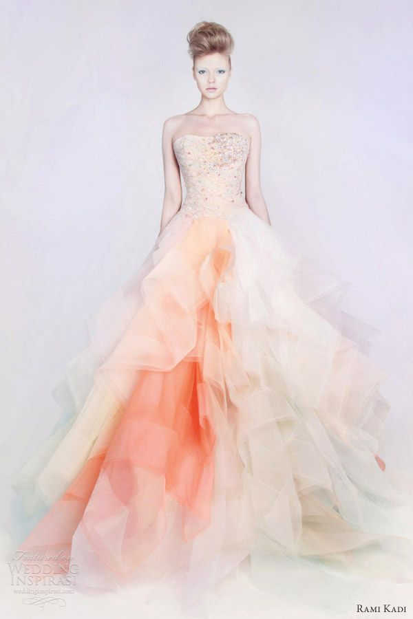 rami kadi spring 2013 couture ombre with pink, orange & peach lace tulle strapless ball gown
