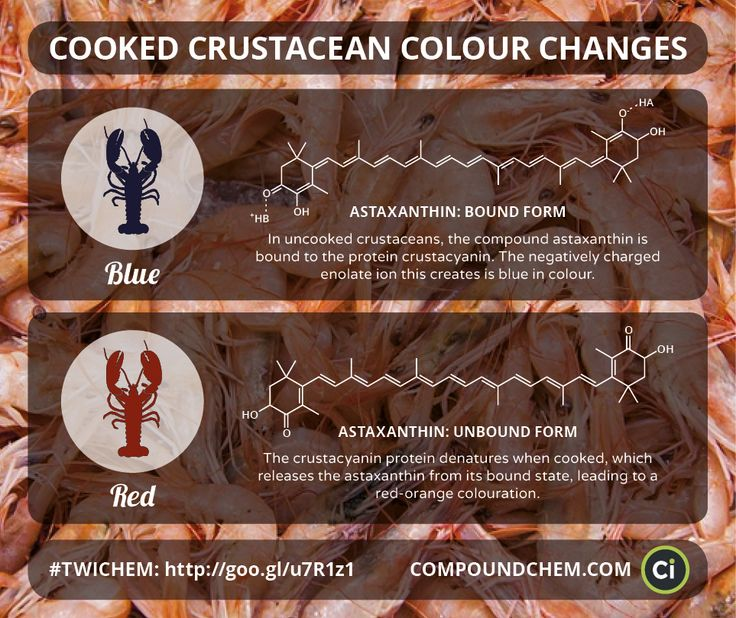 A study this week elucidated the chemistry behind the colour change when crustaceans such as lobster are cooked.Featured in 'This Week in Chemistry'.Note: the original graphic contained an error in the structure of the enolate form of astaxanthin, which has since been corrected).