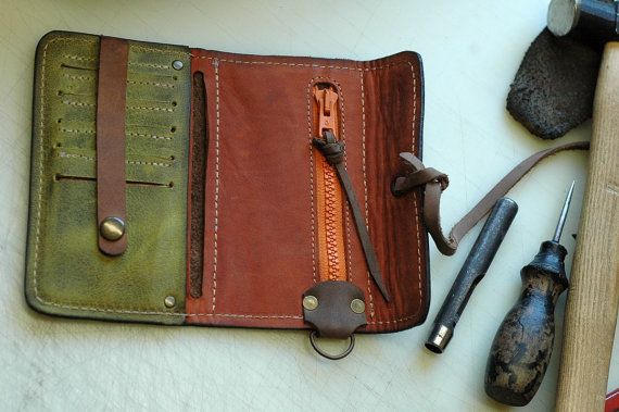 handmade leather unisex Brown and Green Wallet by Ladybuq