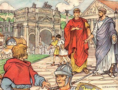 Après la défaite d'Alésia, la Gaule se romanise. Les villes se développent selon l'urbanisme et l'architecture romaines.  L'illustrateur Henri Dimpre (1907-1971)