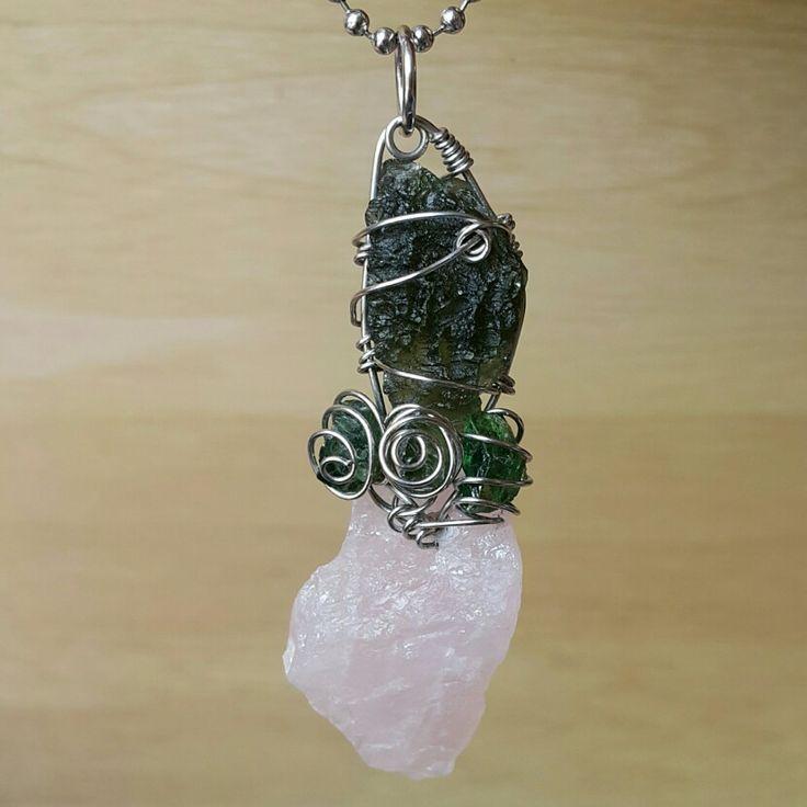 Custom order wire stainless pendant #moldavite #peridot and #rosequartz