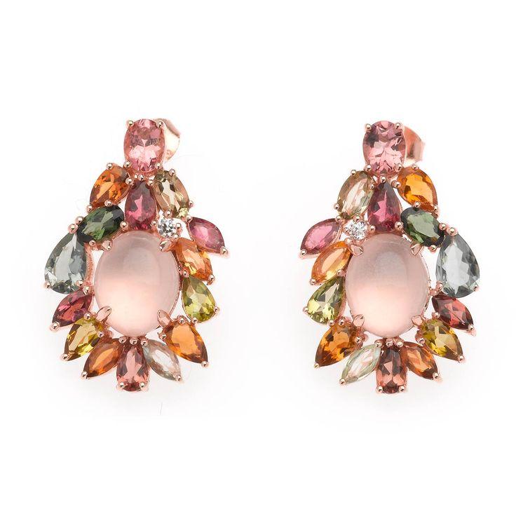 Pendientes tipo camafeo con cuarzos rosas y turmalinas de color. Ver más coleccion en www.salvatore.es
