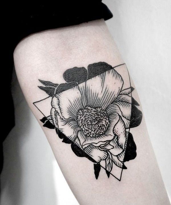geometric tattoo flower