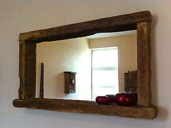 Reclaimed Wood Rustic Farmhouse Mirror With Candle Shelf Dimensions 120cm X 80 Cm Large Hand Cr Farmhouse Mirrors Reclaimed Wood Mirror Rustic Bathroom Mirrors