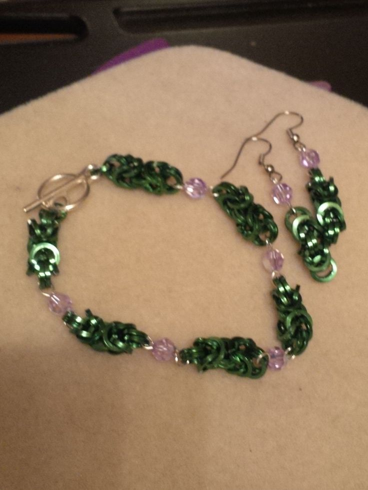Bracelet and Earring byzantine chainmail set by CTDesigns2 on Etsy