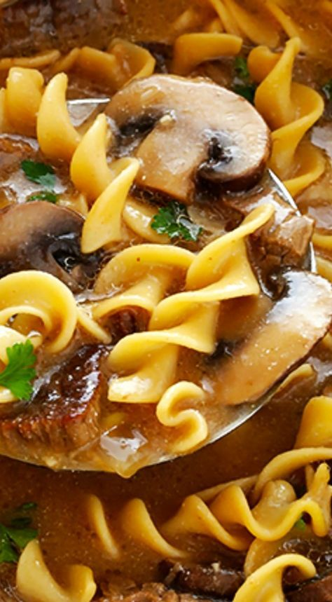 Beef Stroganoff Soup ~ Easy to make, full of tender beef and noodles, and absolutely delicious!