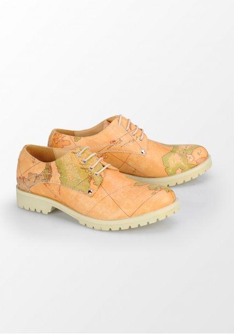 Prego, pantofi Derby cu imprimeu hartă, bej
