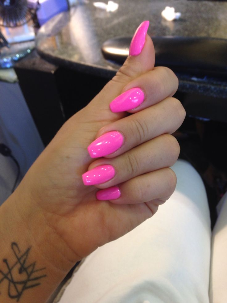 Loving The Coffin Shape Hotpink Best Acrylic Nails Pretty Nails Gorgeous Nails