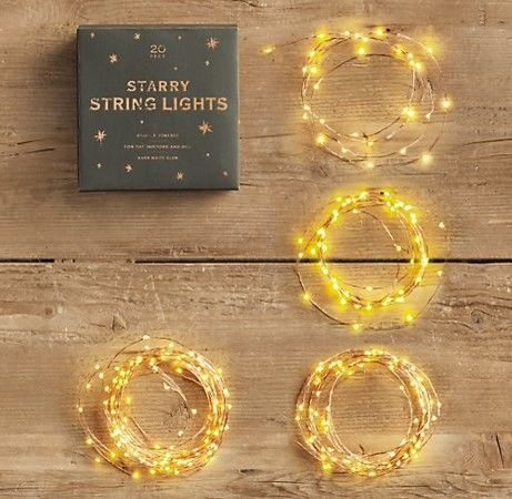 Starry String Lights from Restoration Hardware. Nice idea for outdoor holiday lighting!