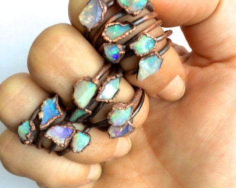 Raw opal ring | Rough opal ring | Rough opal jewelry | Australian fire opal jewelry | Fire opal ring | Rough Australian opal ring
