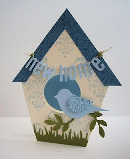 bird house shape - congrats new home card ... New Home die-cut letters on banner ... 3D bird on branch