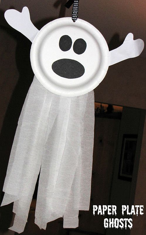Halloween ghost: paper plates and crepe paper streamers. We hang in front of the windows and they move with the wind!