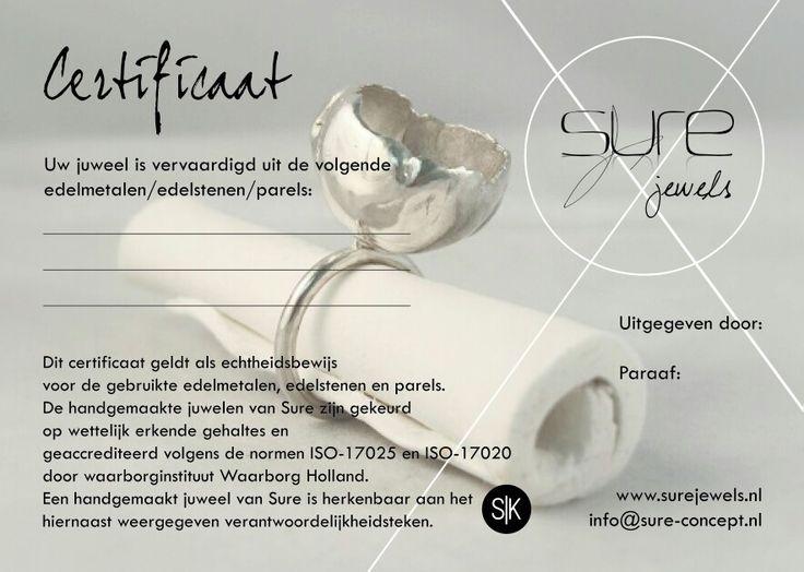 Certificate handmade jewel by SURE