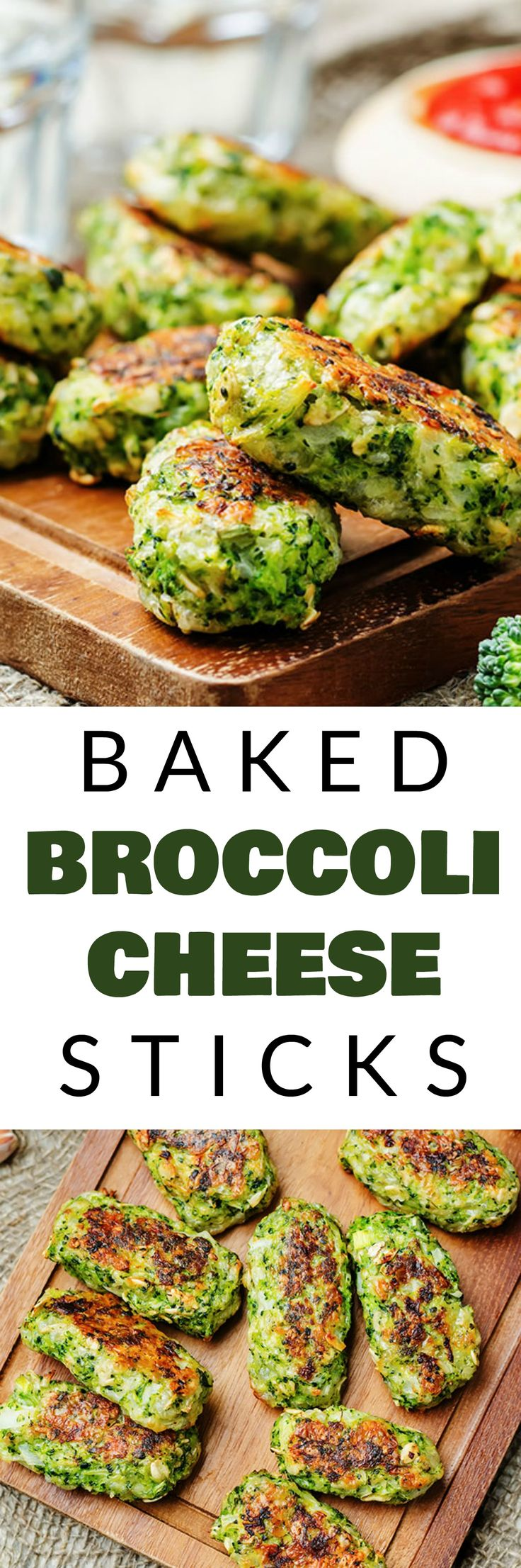 BAKED Broccoli CHEDDAR Cheese Sticks are the best snack! This easy oven baked recipe only uses a few ingredients to make cheese sticks which are perfect to serve as a party appetizer or snack! Your kids are going to love these easy cheesy broccoli bites!