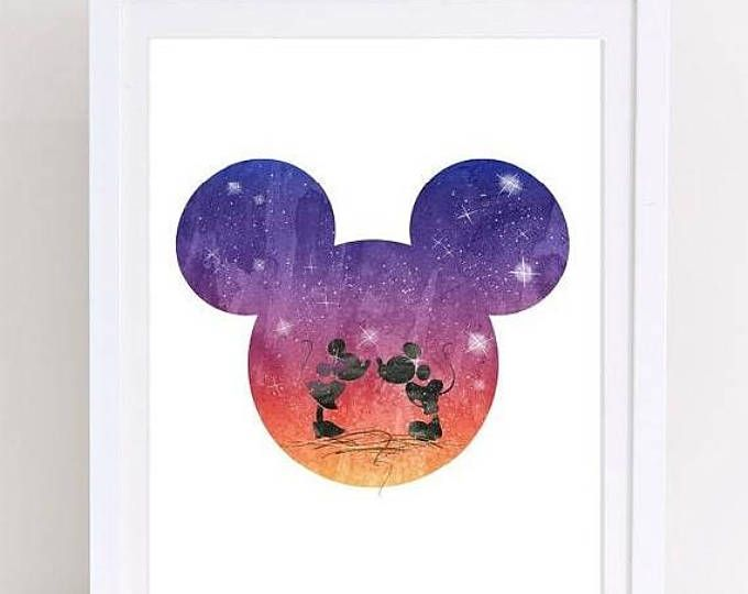 70% OFF mickey disney print, disney watercolor, mickey mouse print, minnie mickey art, disney art, watercolor galaxy, watercolor art, nurser