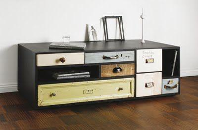 .Modern Furniture, Old Drawers, Reuse Furniture, Recycle Furniture, Storage Furniture, Vintage Furniture, Vintage Drawers, Vintage Modern, Storage United