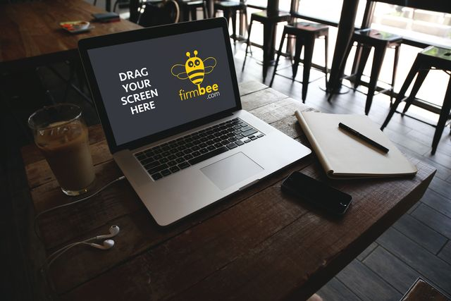MacBook Air on the cafe FREE PSD mockup