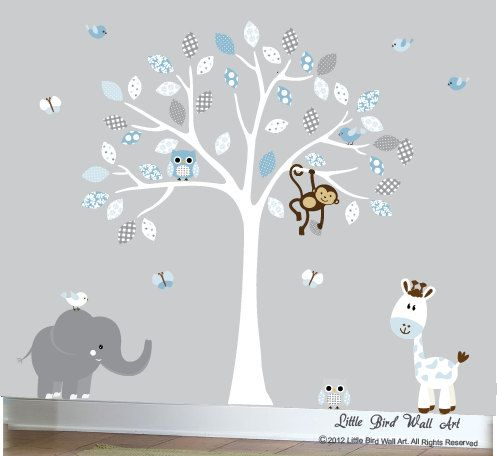 Grey and blue childrens wall art decal design sticker vinyl decal