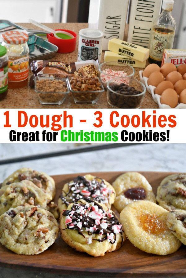 One Christmas Drop Cookie Dough Three Ways
