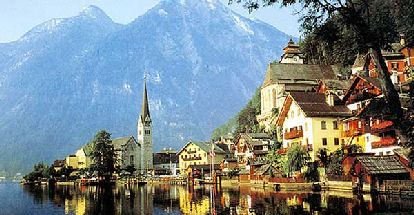 Zell-am-See, Salzburg, Austria; January, 1982.  Quaint Austrian village surrounded by the Alps