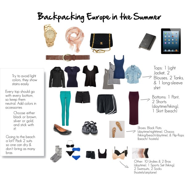 """Summer Europe Packing- Clothing"" by tara-hancock-whitfield on Polyvore"