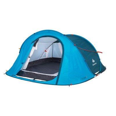 All Tents Camping - 2 Seconds Easy III Pop Up Tent - 3 Man, Blue Quechua - Tents
