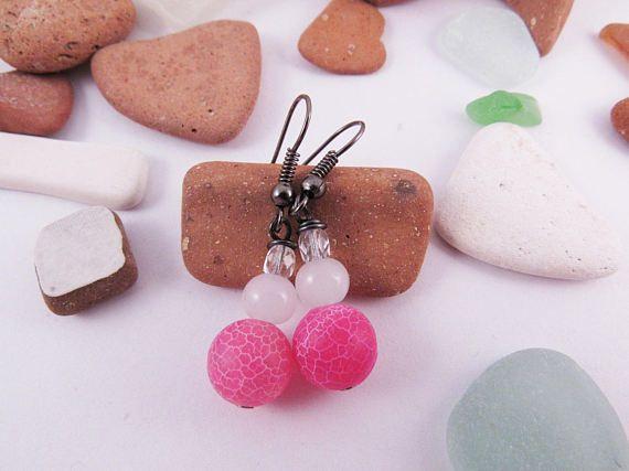 Pink Weathering Agate Earrings  Milky White Glass by RubiesAndBees