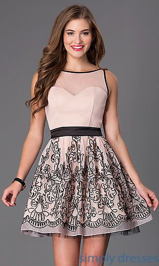 Short Sleeveless Dress with Print Skirt at SimplyDresses.com