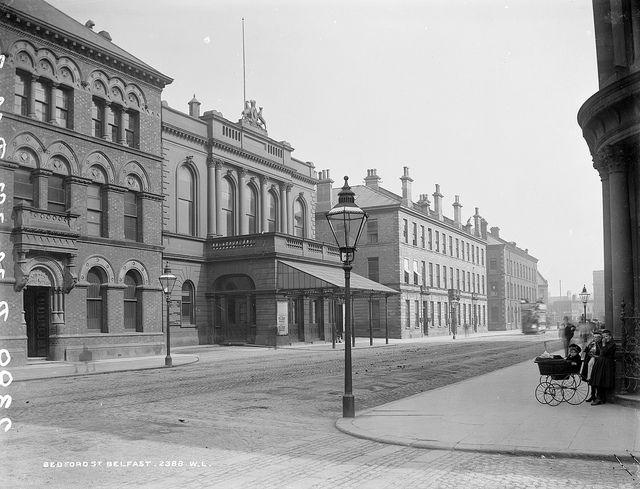 Tram on Bedford Street in Belfast, 1890?