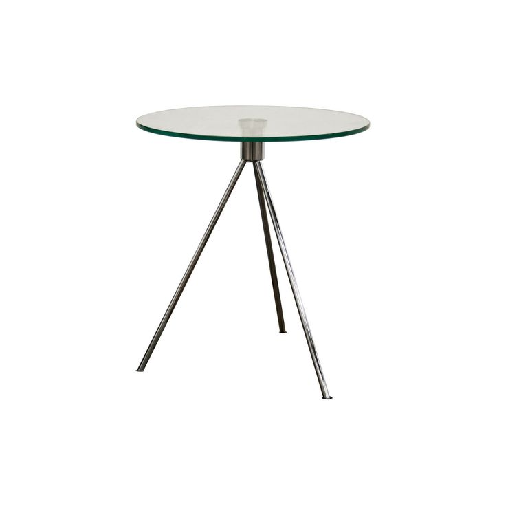 Triplet Round Glass Top End Table with Tripod Base - Baxton Studio, Clear
