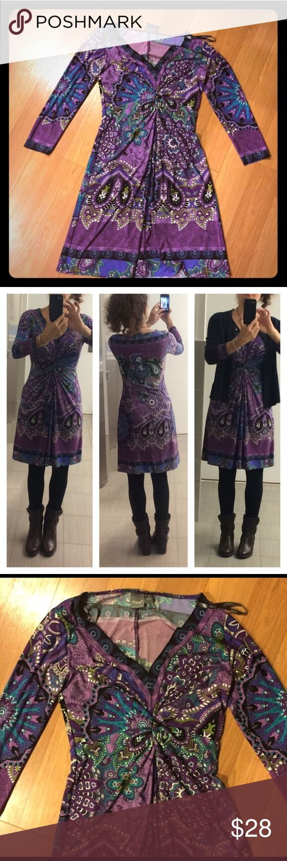 """MUSE Tunic Dress - EUC size 4 This is a beautiful excellent condition vibrant dress by Muse. 100% polyester, cool material but long sleeve so great for summer evening.  I'm 5""""3 and hits right at my knee; bust fits my 34C/D size w room. The first pic is original posher. Rest are mine. Muse Dresses Midi"""