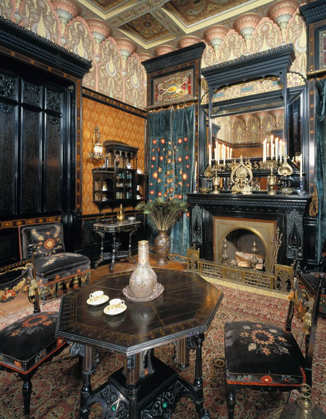 Too much high Aesthetic and ebonized for my taste.                                                                Moorish Smoking Room, The Worsham-Rockefeller House. New York, built circa 1864–65, remodeled circa 1881. Brooklyn Museum, Gift of John D. Rockefeller, Jr., and John D. Rockefeller III
