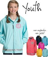 Youth - Monogrammed New Englander Rain Jacket for YOUTH -Sizes YOUTH S - XL - Wind & Waterproof - FREE SHIP