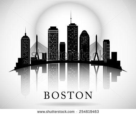 Boston skyline. City silhouette - stock vector