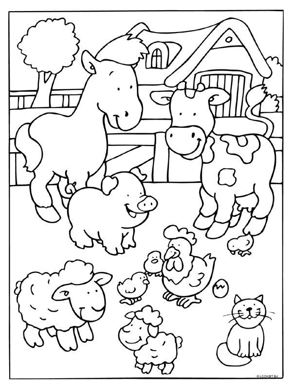Kleurplaat Boerderij dieren koe - Kleurplaten.nl
