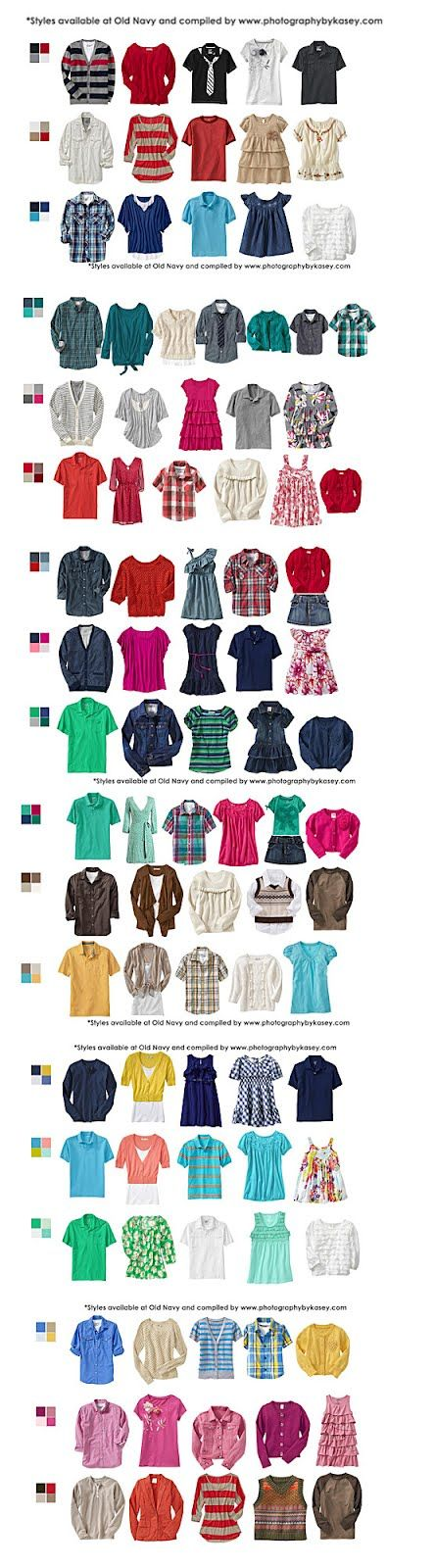 What to Wear-Clothing Ideas...family color coordinating pallettes.
