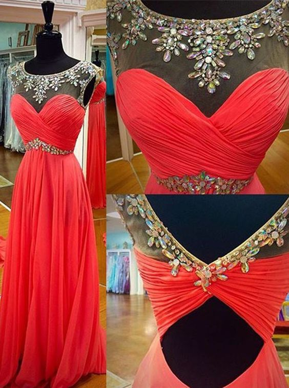 2017 Custom Charming Red Chiffon Prom Dress,Beading